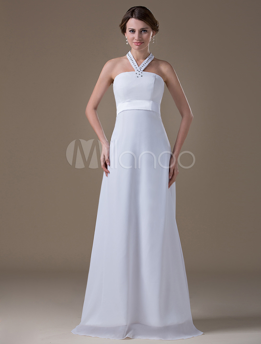 White Halter Chiffon Maternity Wedding Dress