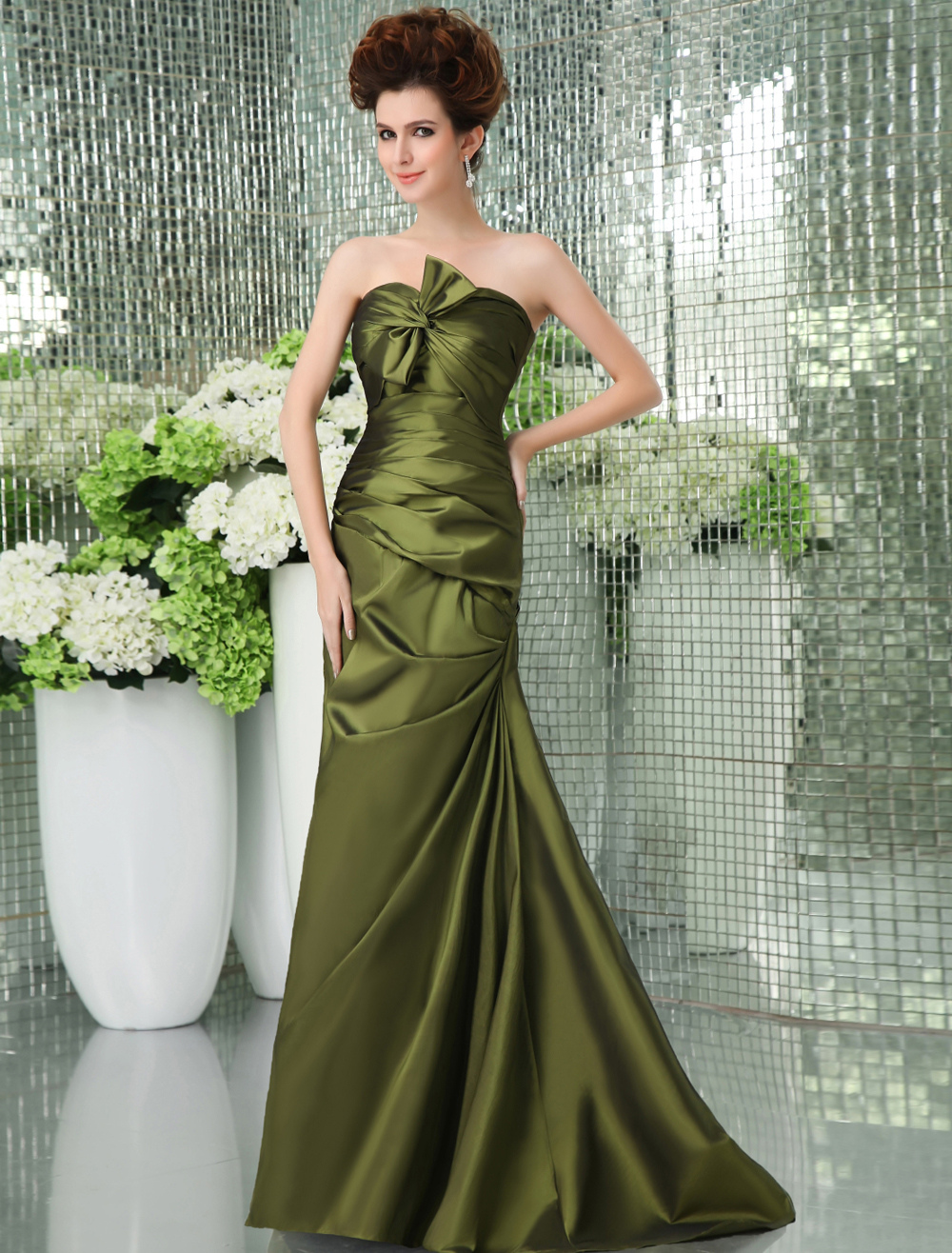 Green Strapless Sweep Taffeta Prom Dress (Wedding Prom Dresses) photo