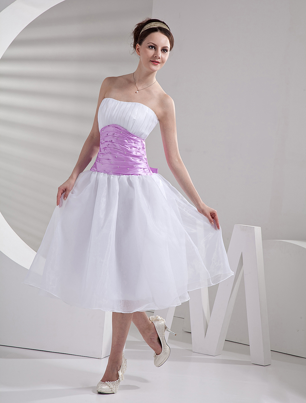 Cute White Strapless Pink Sash Beaded Cocktail Dress (Wedding Cheap Party Dress) photo
