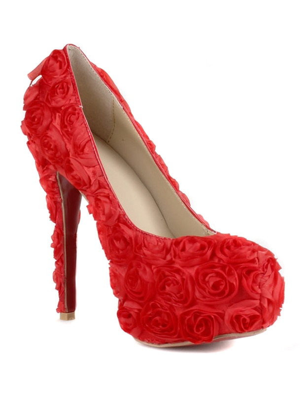 Charming Red Floral Cloth High Heels - Milanoo.com
