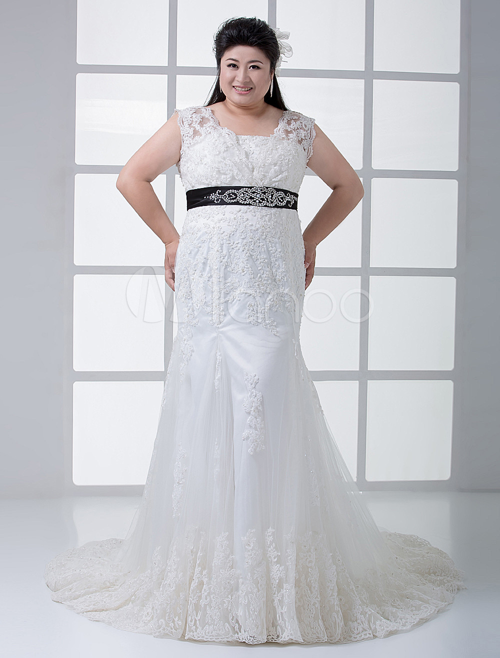 Ivory Square Neck Mermaid Trumpet Lace Plus Size Wedding Dress