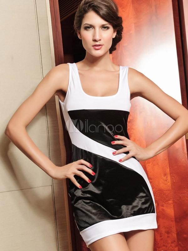 Black White Square Neck Polyester Club Dress