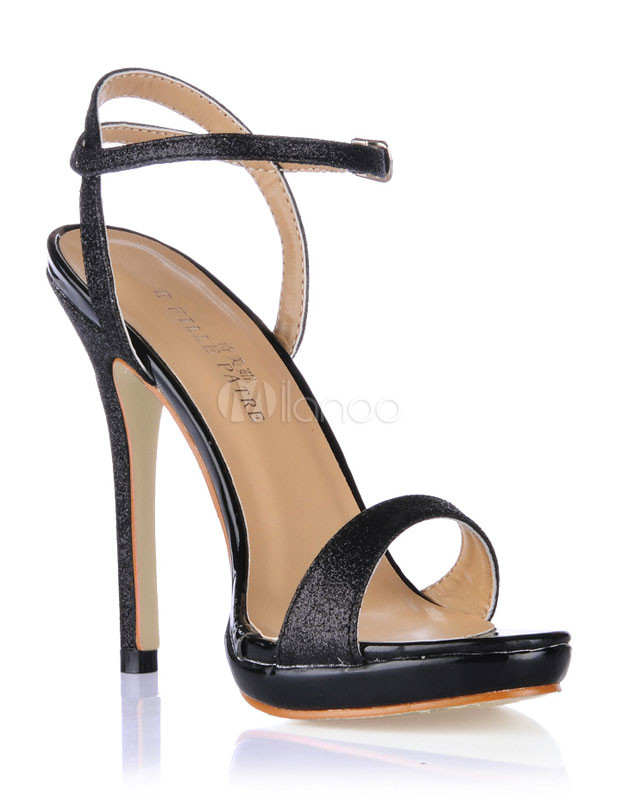 Beautiful Black Ankle Strap Sequined Cloth Woman's Dress Sandals ...