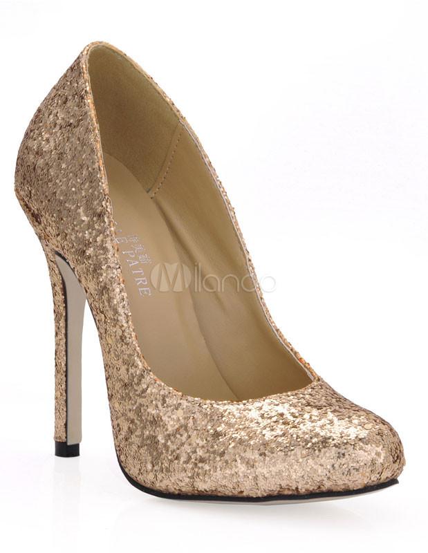 goldene damen high heels mit pailletten. Black Bedroom Furniture Sets. Home Design Ideas