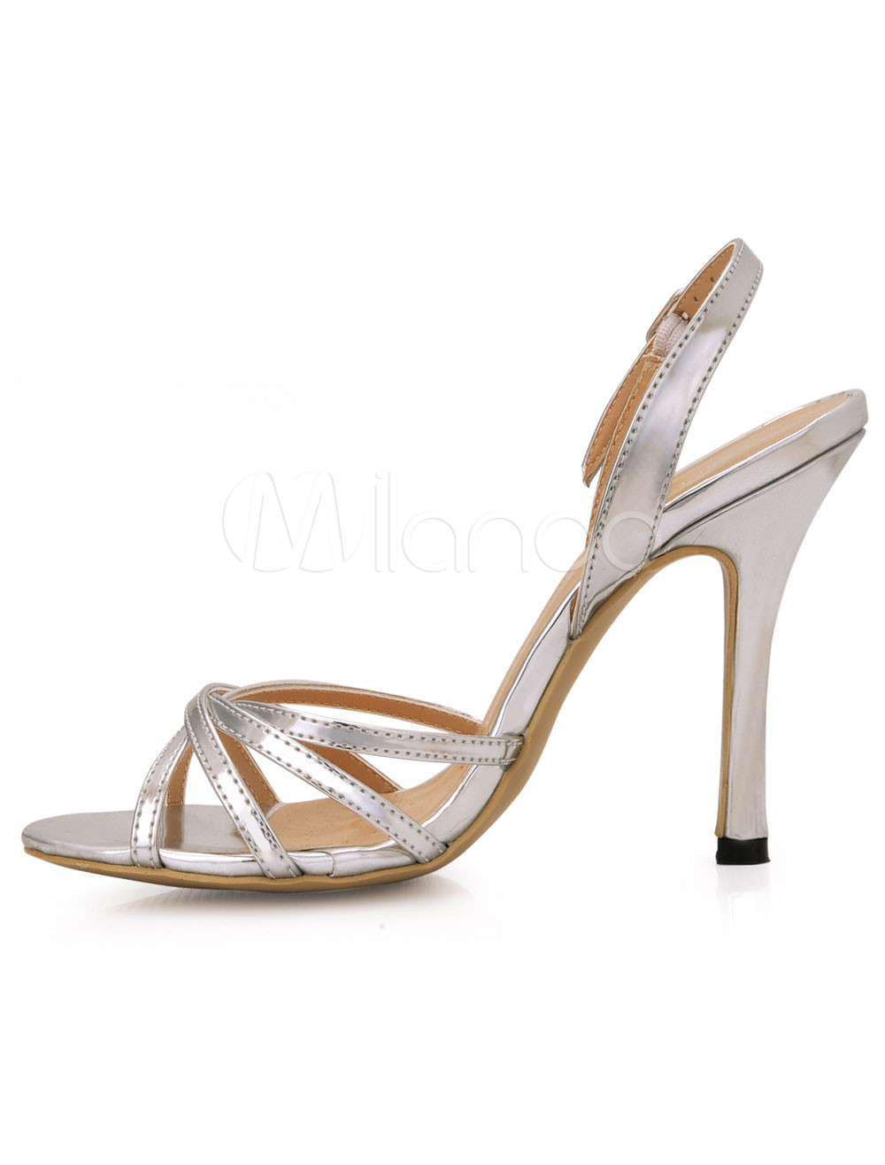 Silver PU Leather Slingback High Heel Sandals