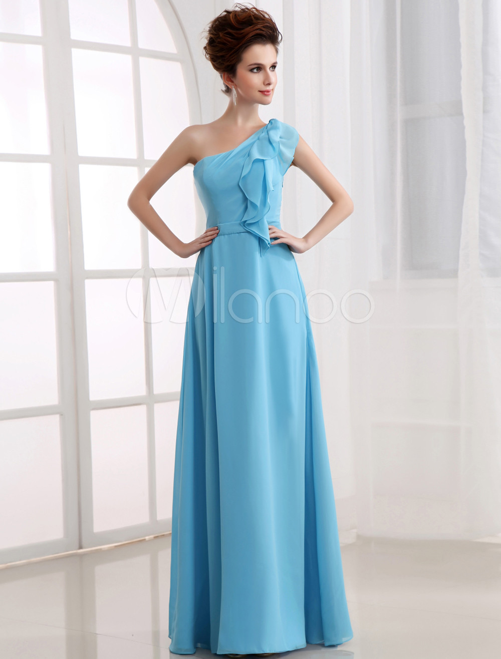 Aqua Bridesmaid Dress One Shoulder Ruffle Chiffon Floor Length Prom Dress