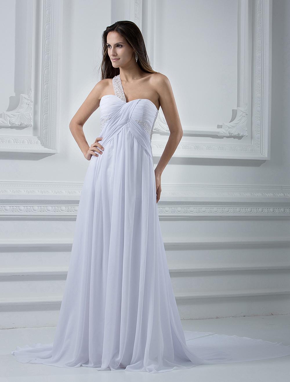Empire waist ivory chiffon wedding dress for Ivory empire waist wedding dress