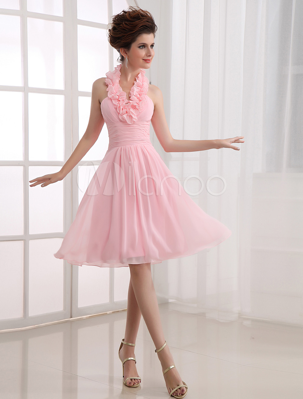 Pink Halter Chiffon Knee Length Womens Bridesmaid Dress
