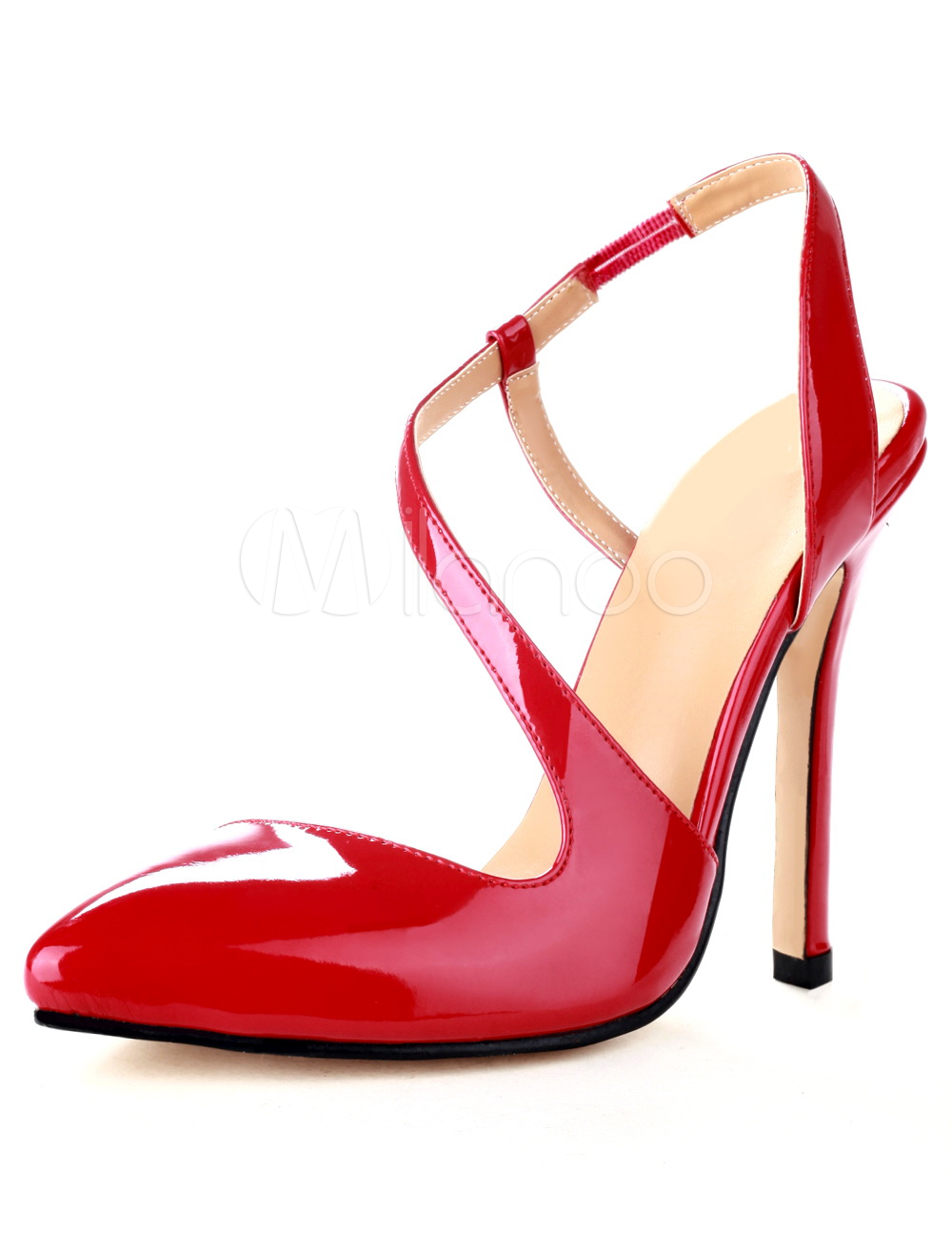 Red Pointed Toe Stiletto Heel Patent Suede Woman's High Heels ...