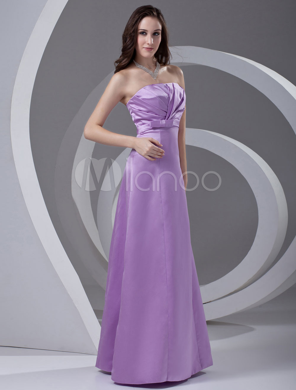 Sheath Lavender Satin Ruched Strapless Bridesmaid Dress
