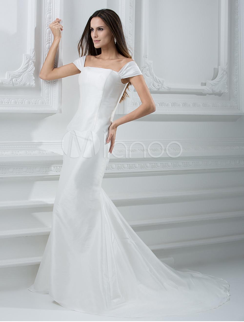 Slim off the shoulder sheath taffeta wedding dress for Off the shoulder taffeta wedding dress