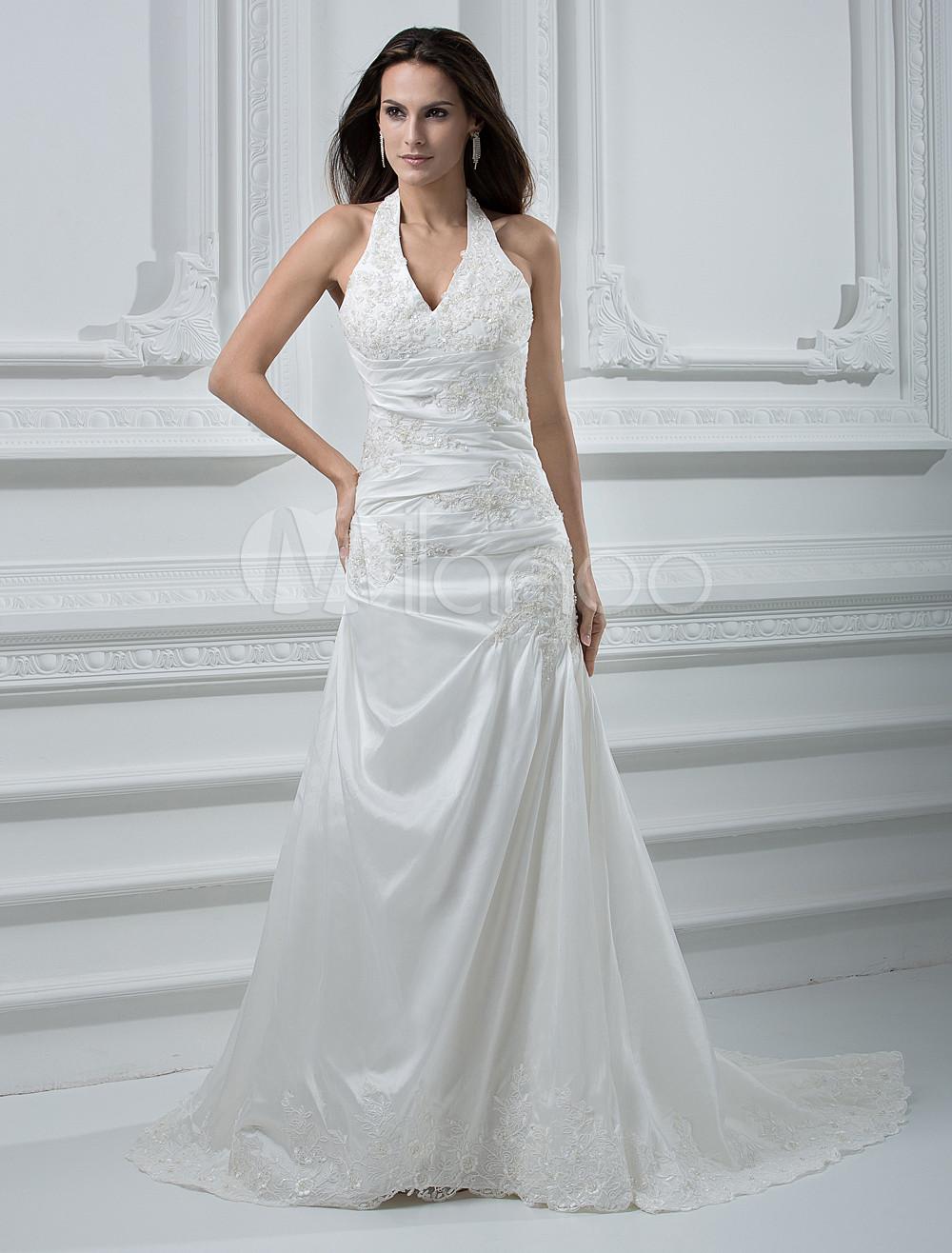 White Halter V Neck Embroidery Beaded Taffeta Wedding Dress