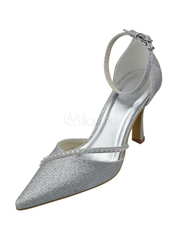 Silver Satin Wedding Pumps