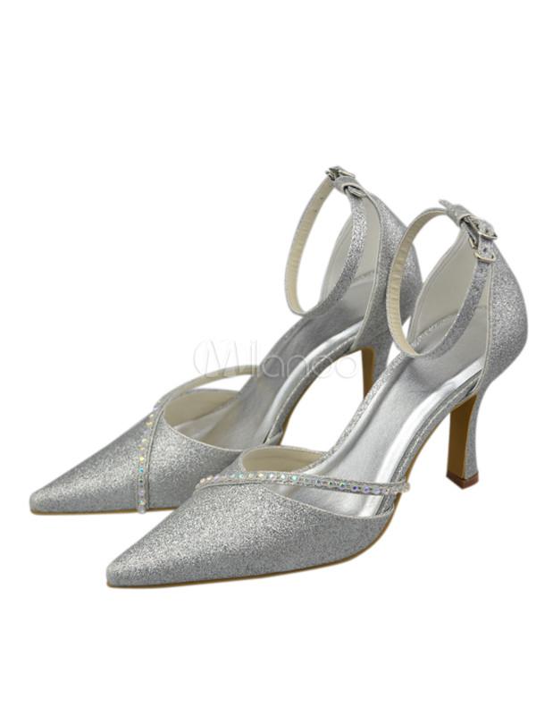 Silver satin wedding pumps milanoo com