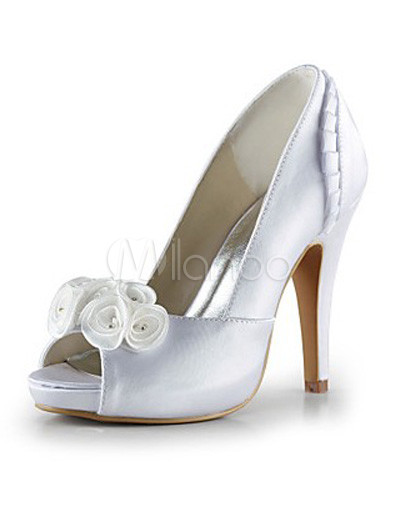 white flowers platform satin bridal wedding shoes