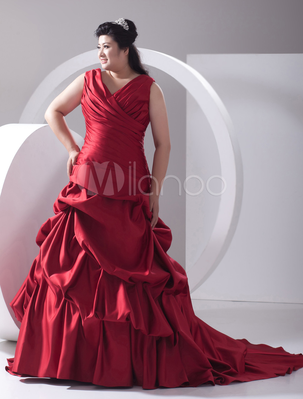 Red Ball Gown V-Neck Pleated Satin Plus Size Wedding Dress For Bride