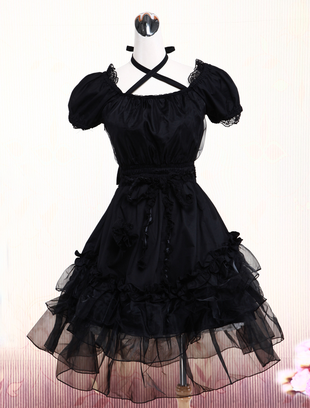 Pure Black Lolita One-piece Dress Short Sleeves Lace Trim Neck Straps