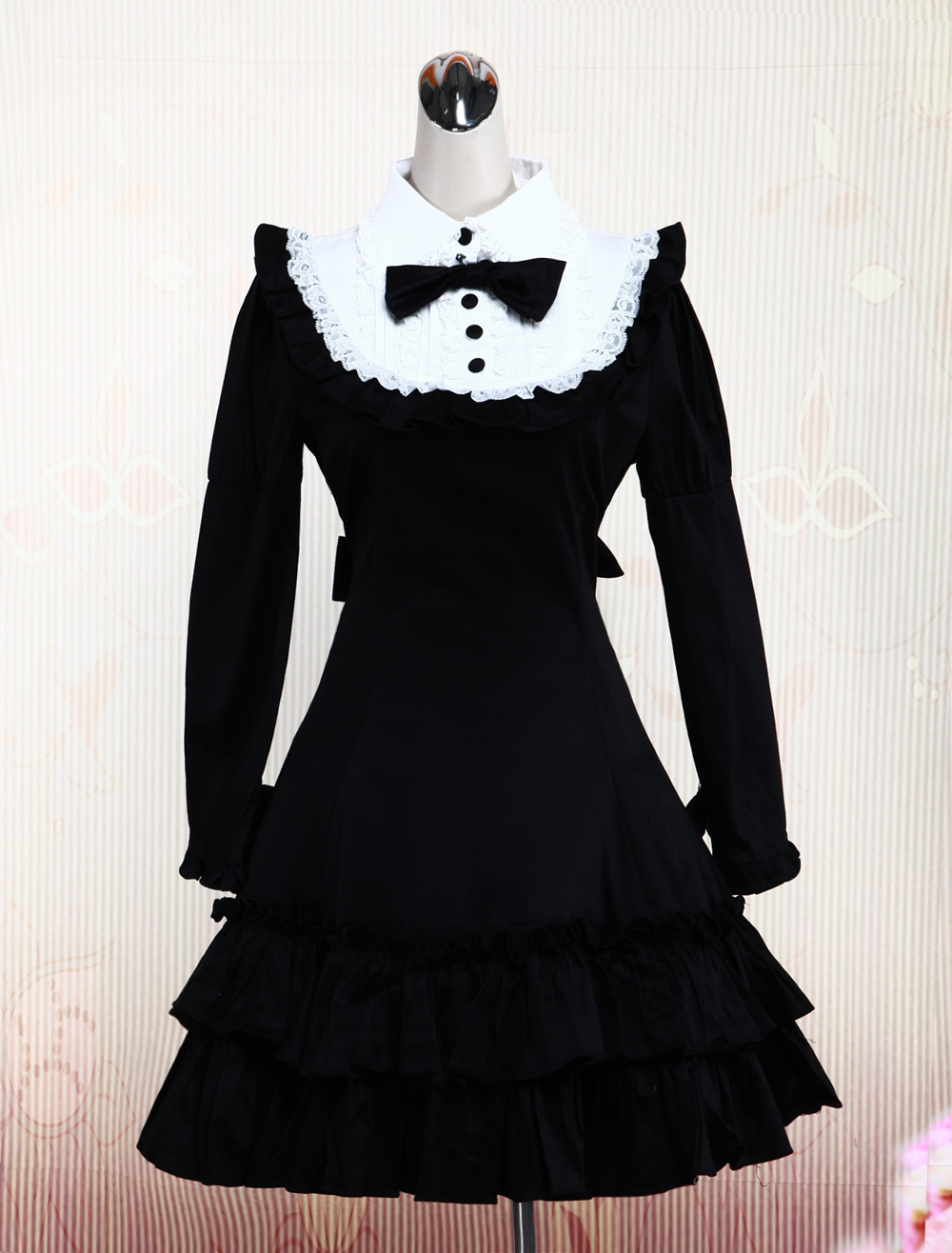 Cotton Black Long Sleeves Ruffle Classic Lolita Dress