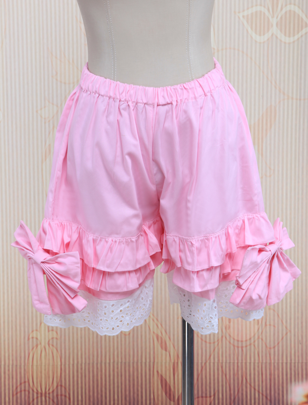 Cotton Pink Lace Lolita Bloomers $14.99 AT vintagedancer.com