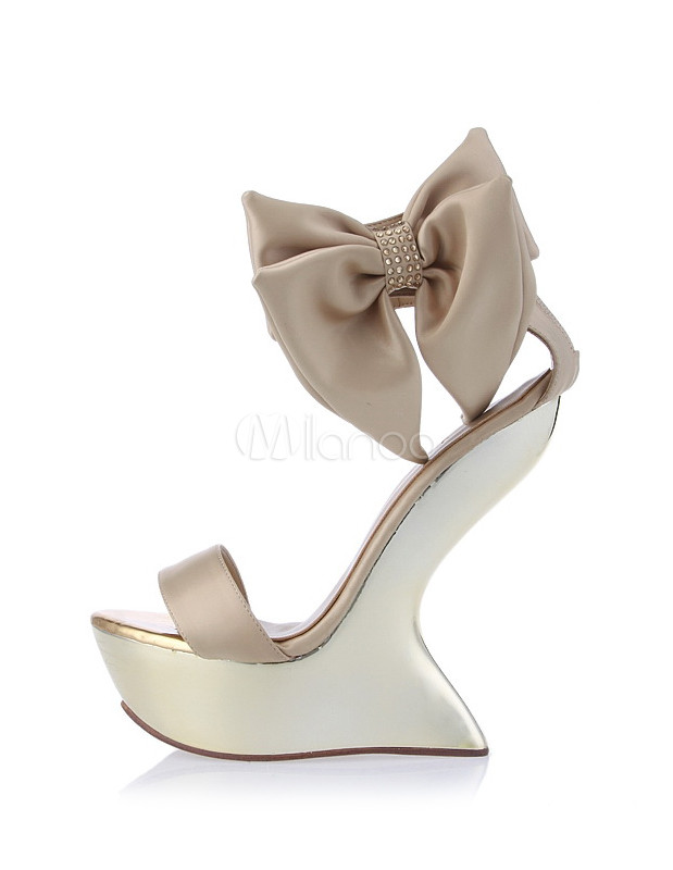 grace gold open toe heelless bow wedge shoes for