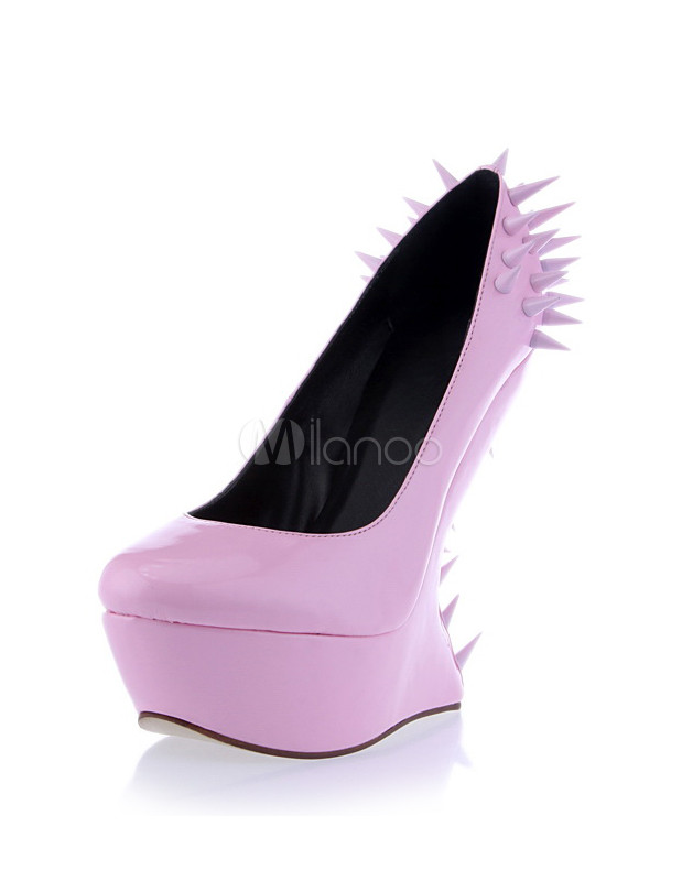 sweet pink heelless spikes s wedge shoes milanoo