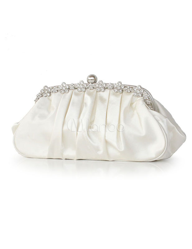 White Bridal Wedding Handbag Chain Rhinestone Ruched Handbag