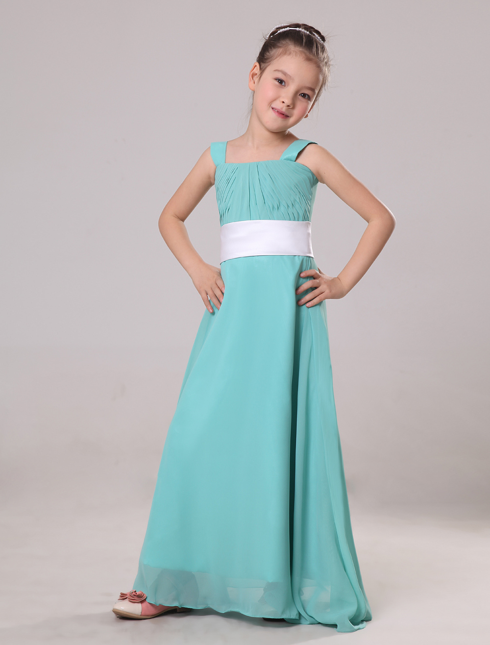 Amazing Blue Chiffon Square Neck Floor Length Junior Bridesmaid Dress
