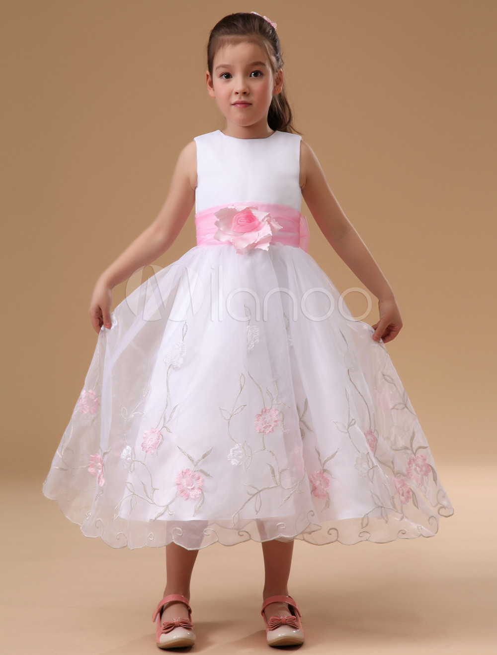 5f03c4d2f24 Beautiful White Gauze Sash Applique Flower Girl Dress (Wedding Flower Girl  Dresses) photo