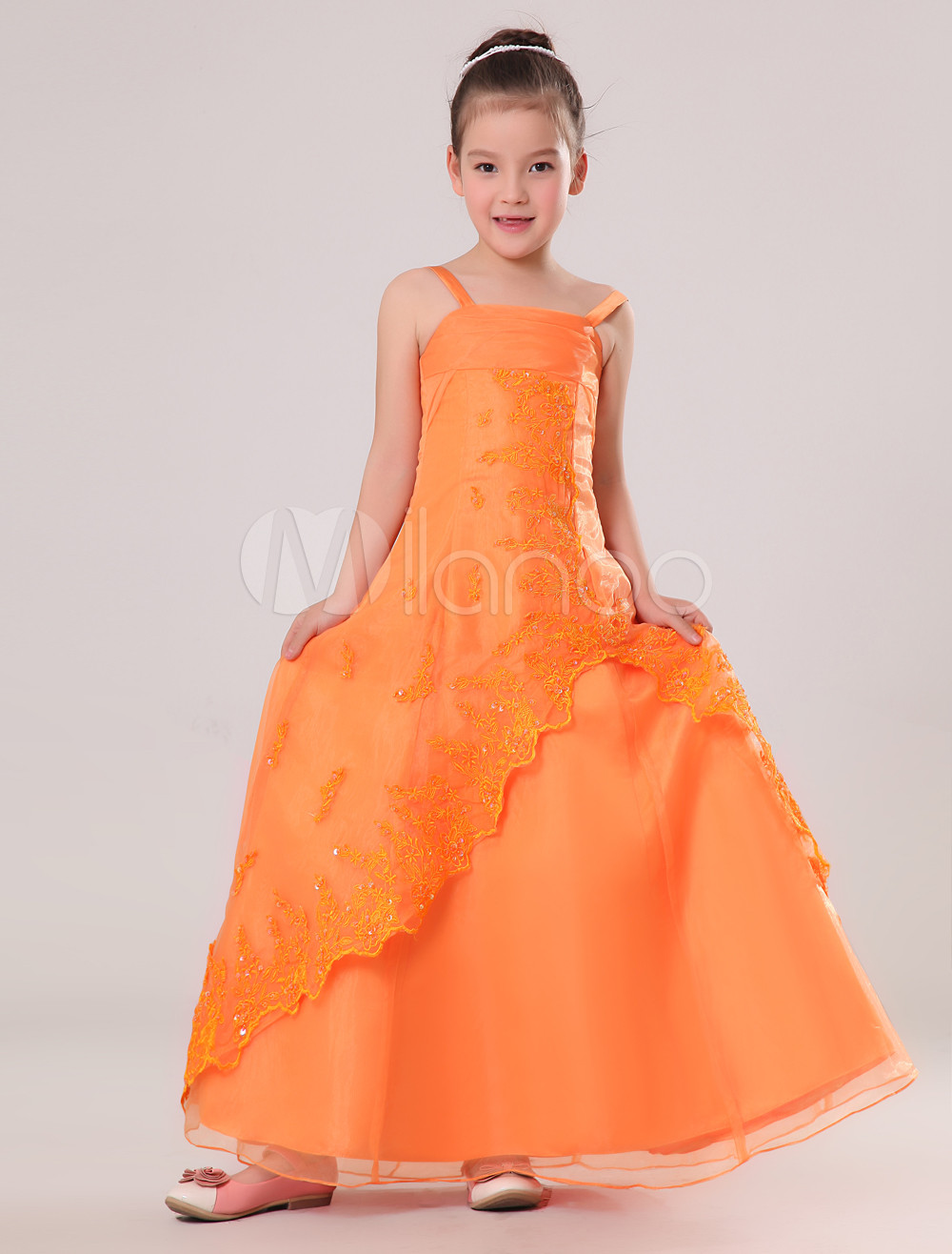 Brilliant Orange Grenadine Double Spaghetti Straps Floor Length Junior Bridesmaid Dress