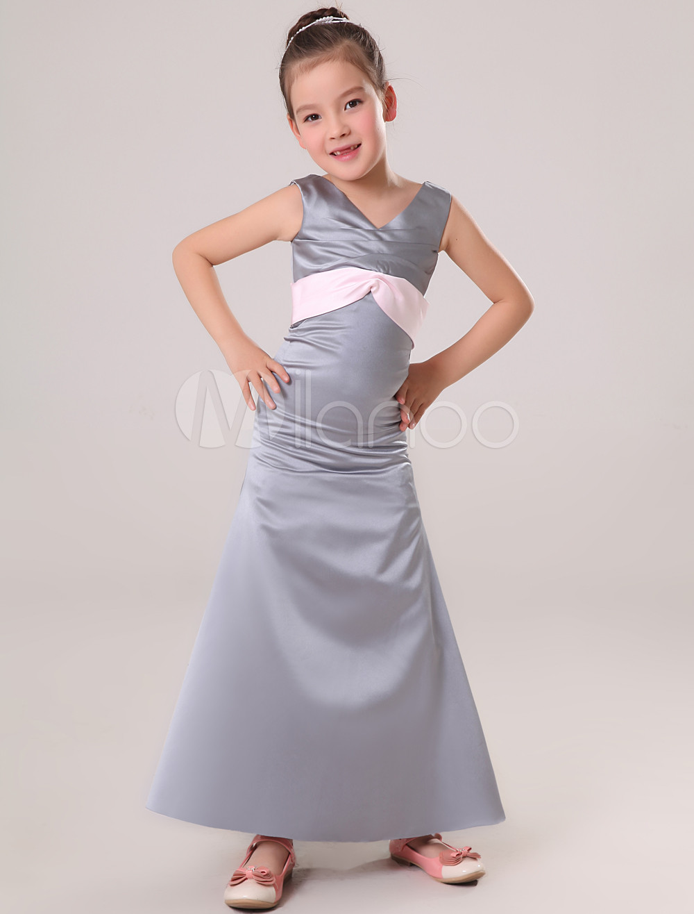 Chic Gray Satin V-neck Floor Length Junior Bridesmaid Dress