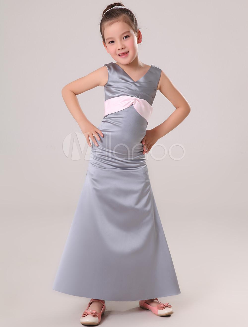 Chic Gray Satin V-neck Floor Length Junior Bridesmaid Dress