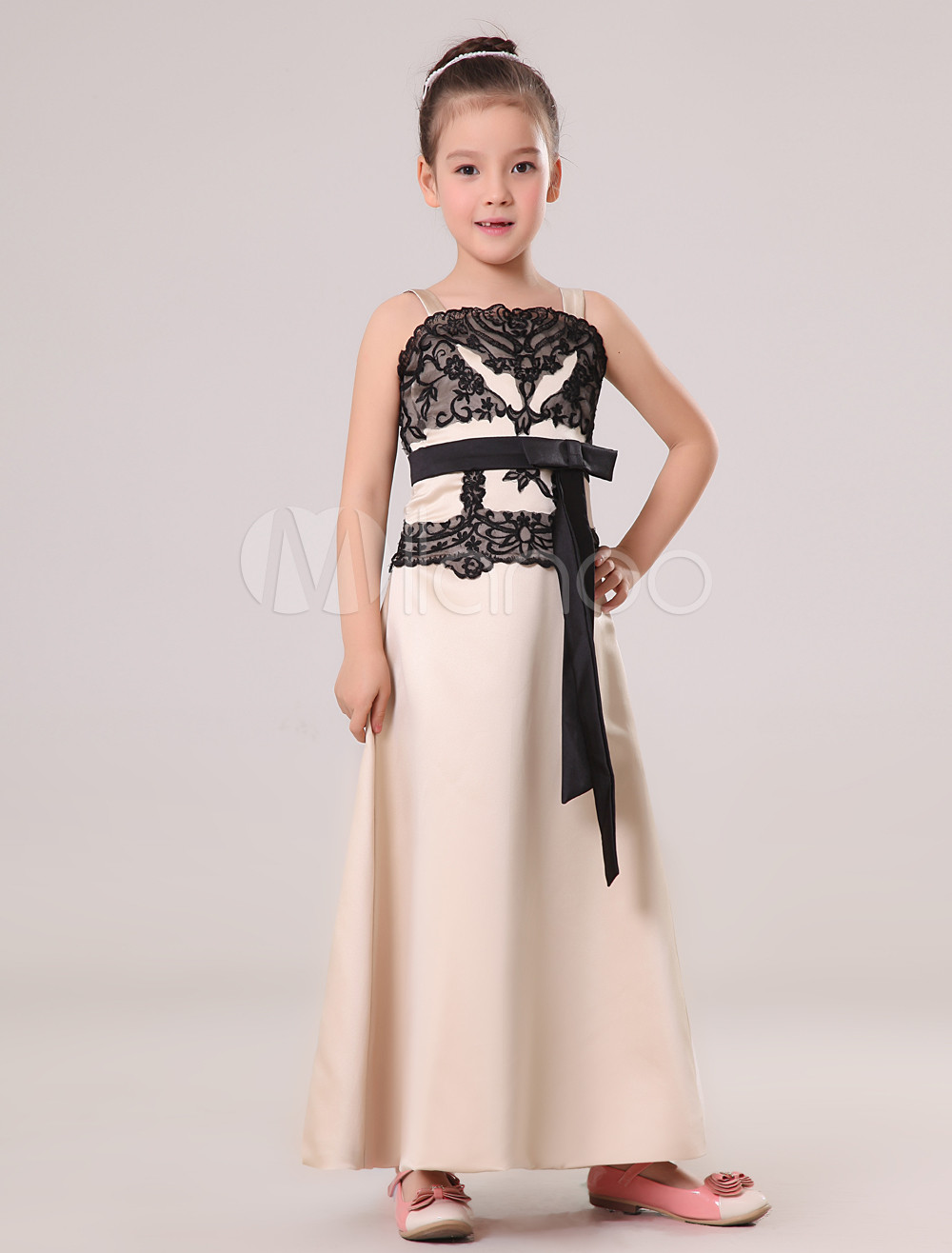 Cute Ivory Satin Double Spaghetti Straps Floor Length Junior Bridesmaid Dress