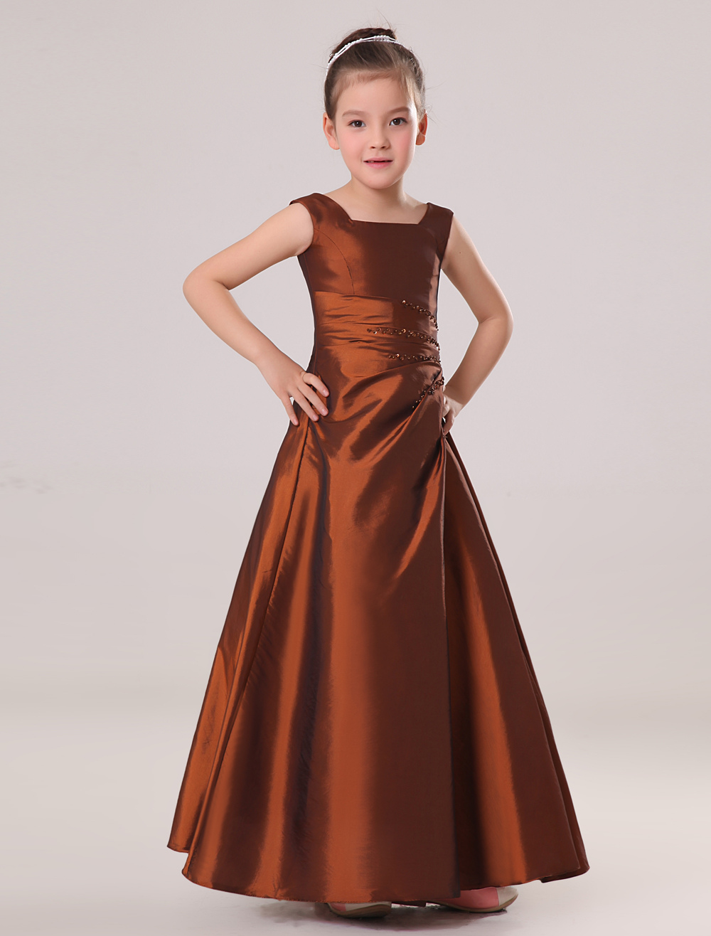 Exquisite Chocolate Brown Taffeta Square Collar Floor Length Junior Bridesmaid Dress
