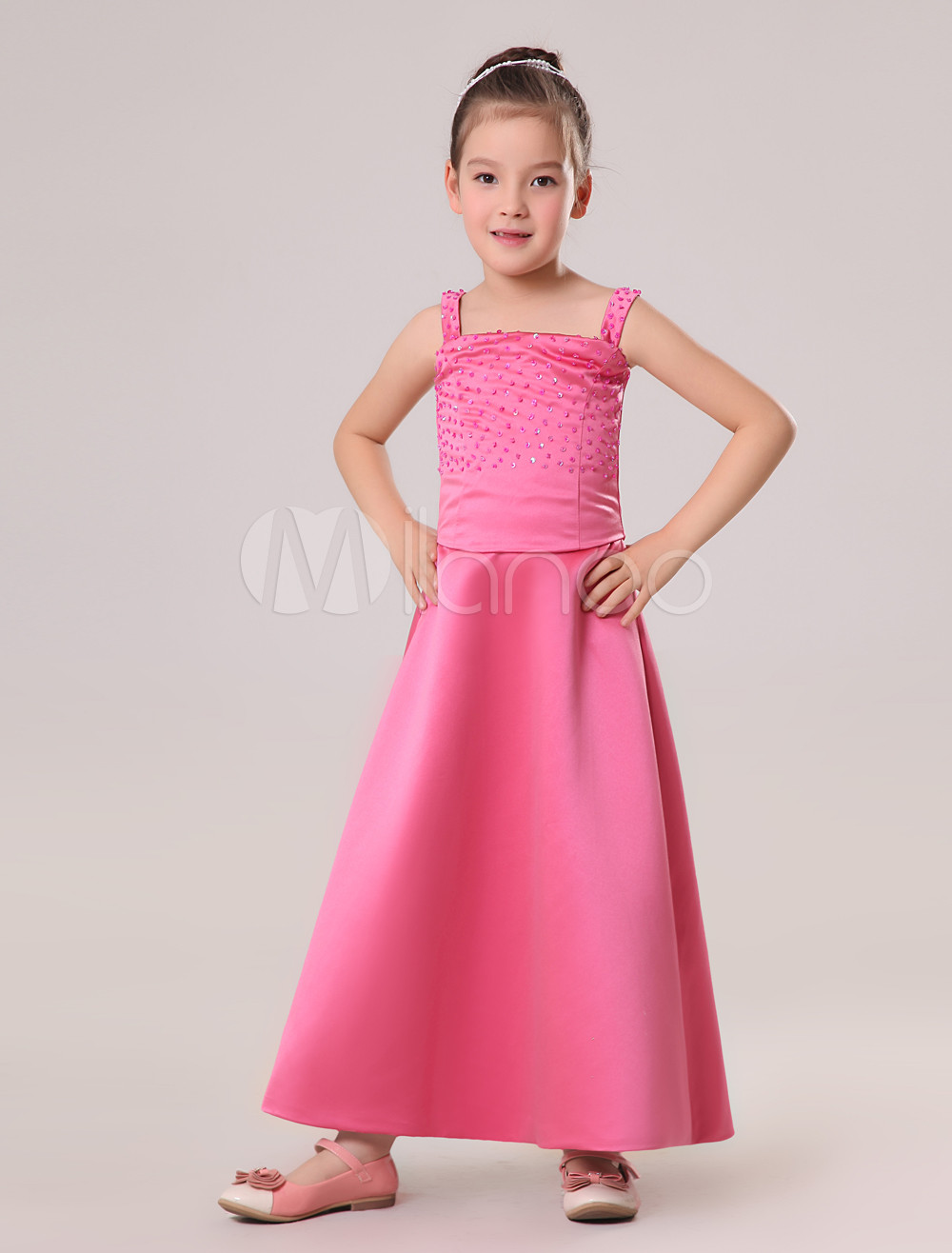 Graceful Rose-red Satin Double Spaghetti Straps Floor Length Junior Bridesmaid Dress