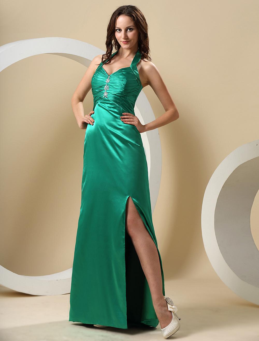 Hunter Green Halter Floor Length Elastic Woven Satin Prom Dress (Wedding Prom Dresses) photo
