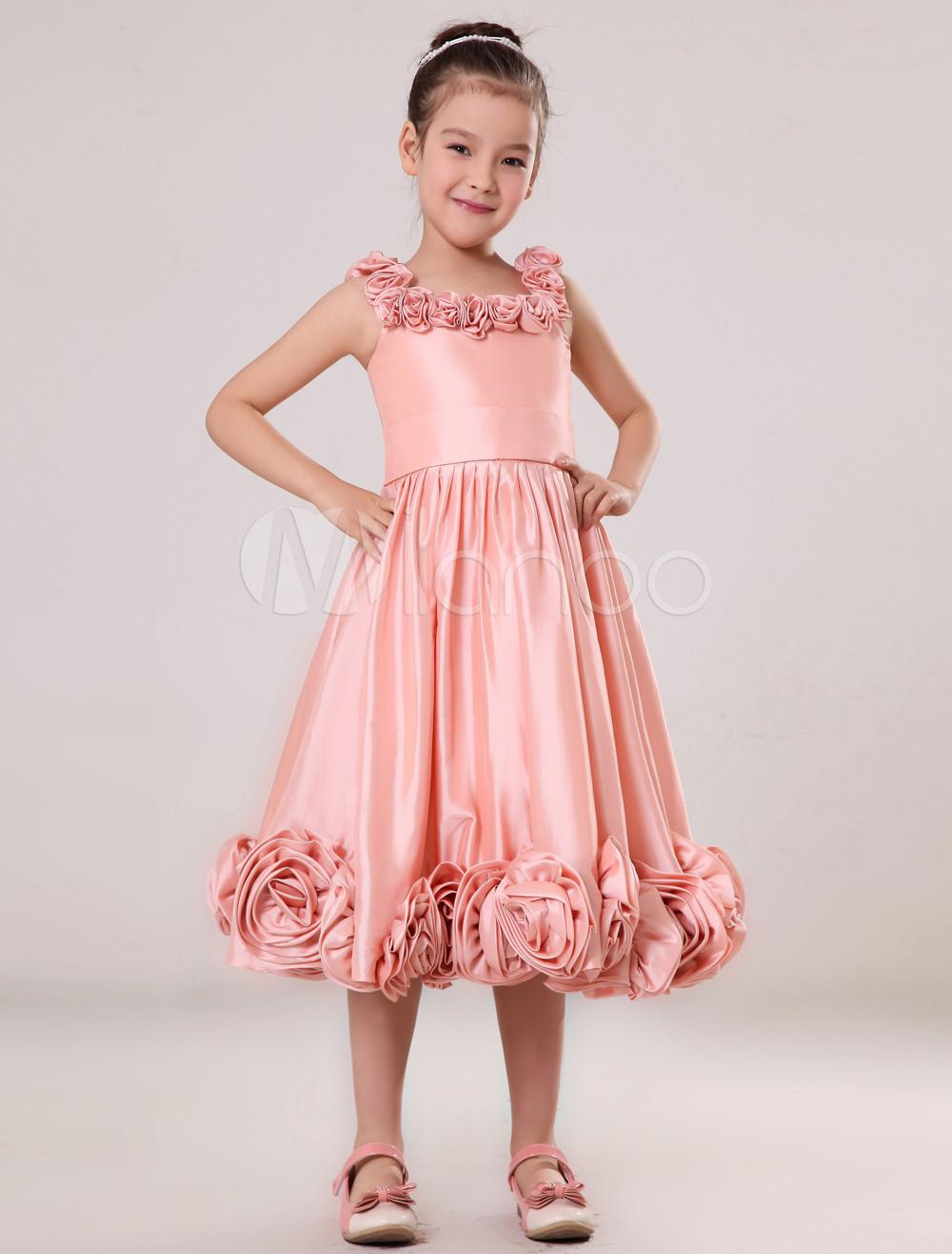Multicolor Taffeta Pink Sash Flower Girl Dress (Wedding Flower Girl Dresses) photo