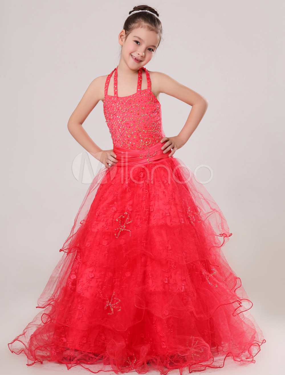 Red Halter Floor-Length Ruffles Ball Gown Girls Pageant Dress (Wedding Flower Girl Dresses) photo