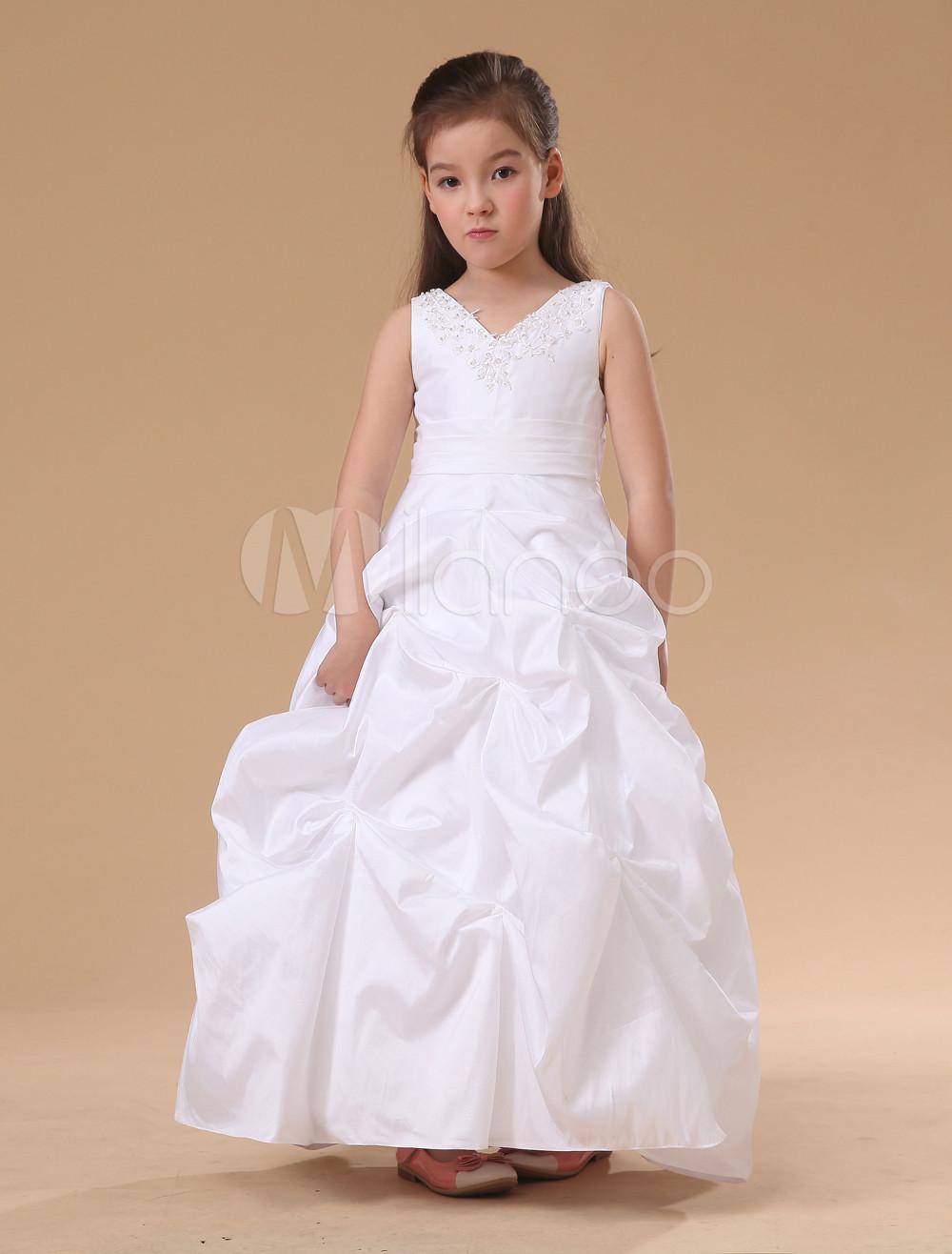 White Sleeveless Ball Gown Sash Satin Flower Girl Dress (Wedding Flower Girl Dresses) photo