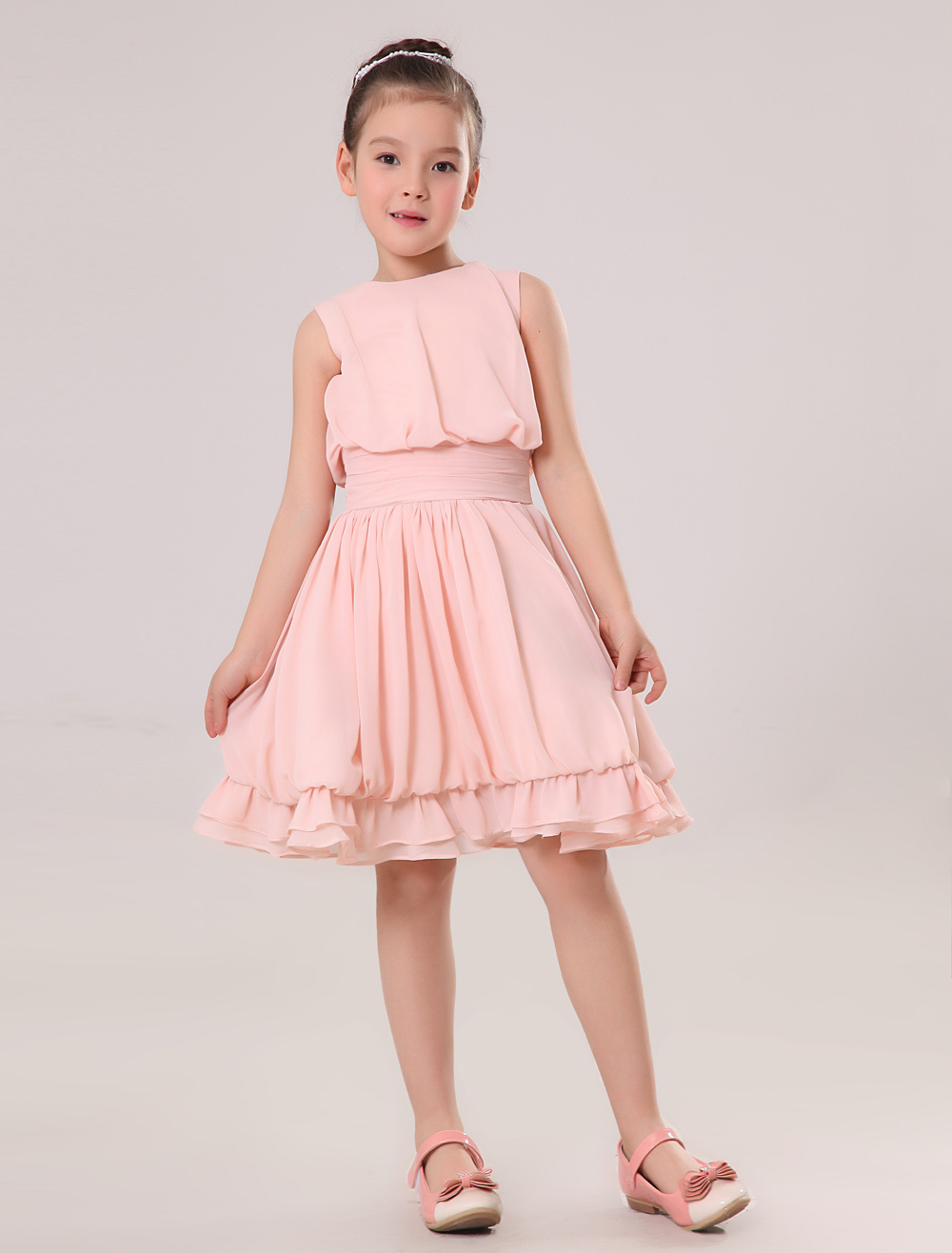 Beautiful Pink Chiffon Round Collar Knee Length Junior Bridesmaid Dress