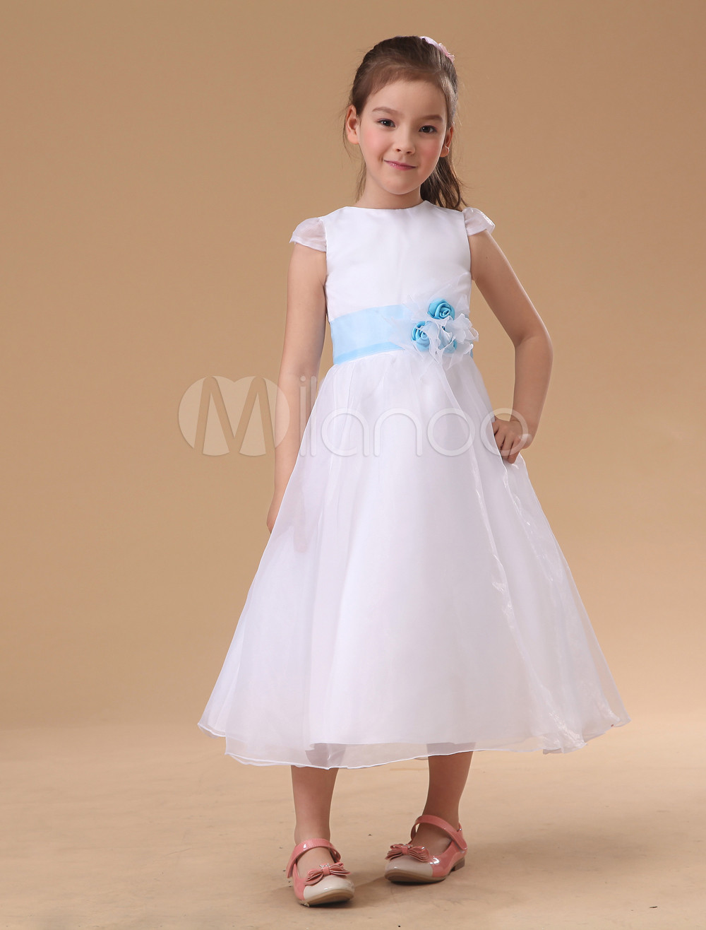 White Sash Flower Decroration Short Sleeves Satin Flower Girl Dress