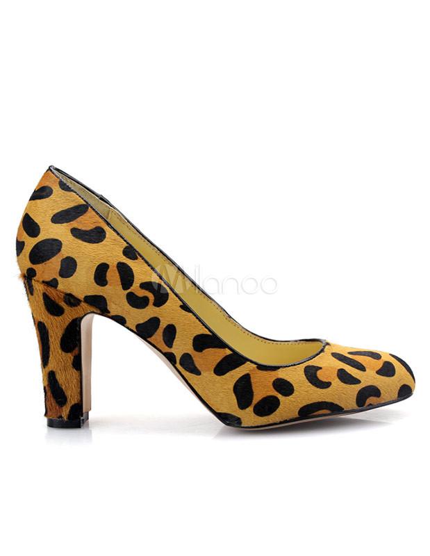 Brown Leopard Print Horsehair Women's Chunky Heels - Milanoo.com