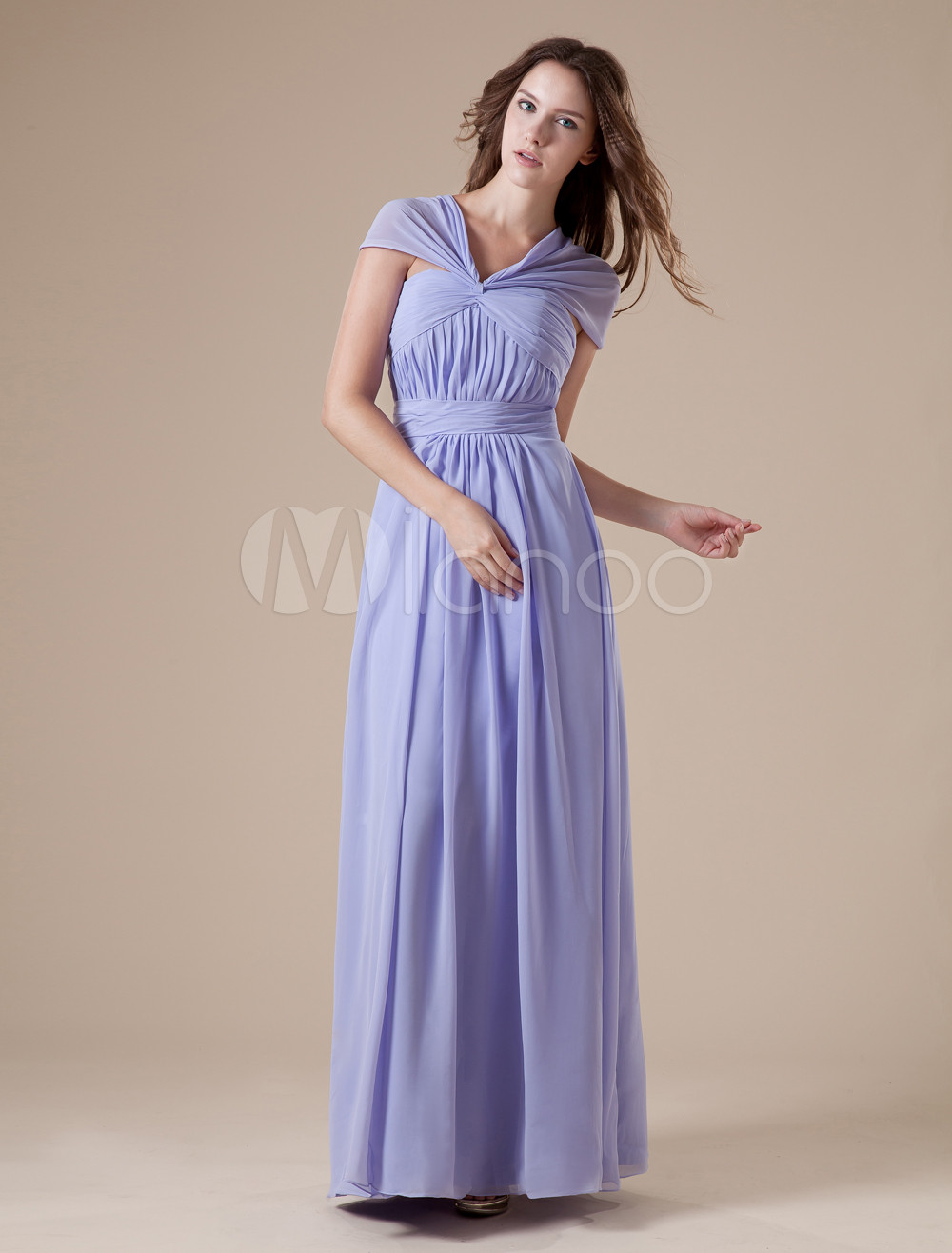 Lilac V-neck Chiffon Floor Length Womens Bridesmaid Dress