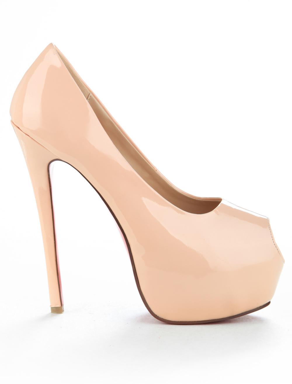 Nude Peep Toe Platform Heels