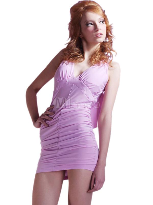 Classy Light Purple Silk Backless Ruffle Womens Club Dress ...
