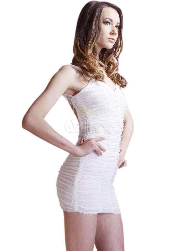 Spandex blanco sexy vestido sin espalda de malla mini mujer milanoo