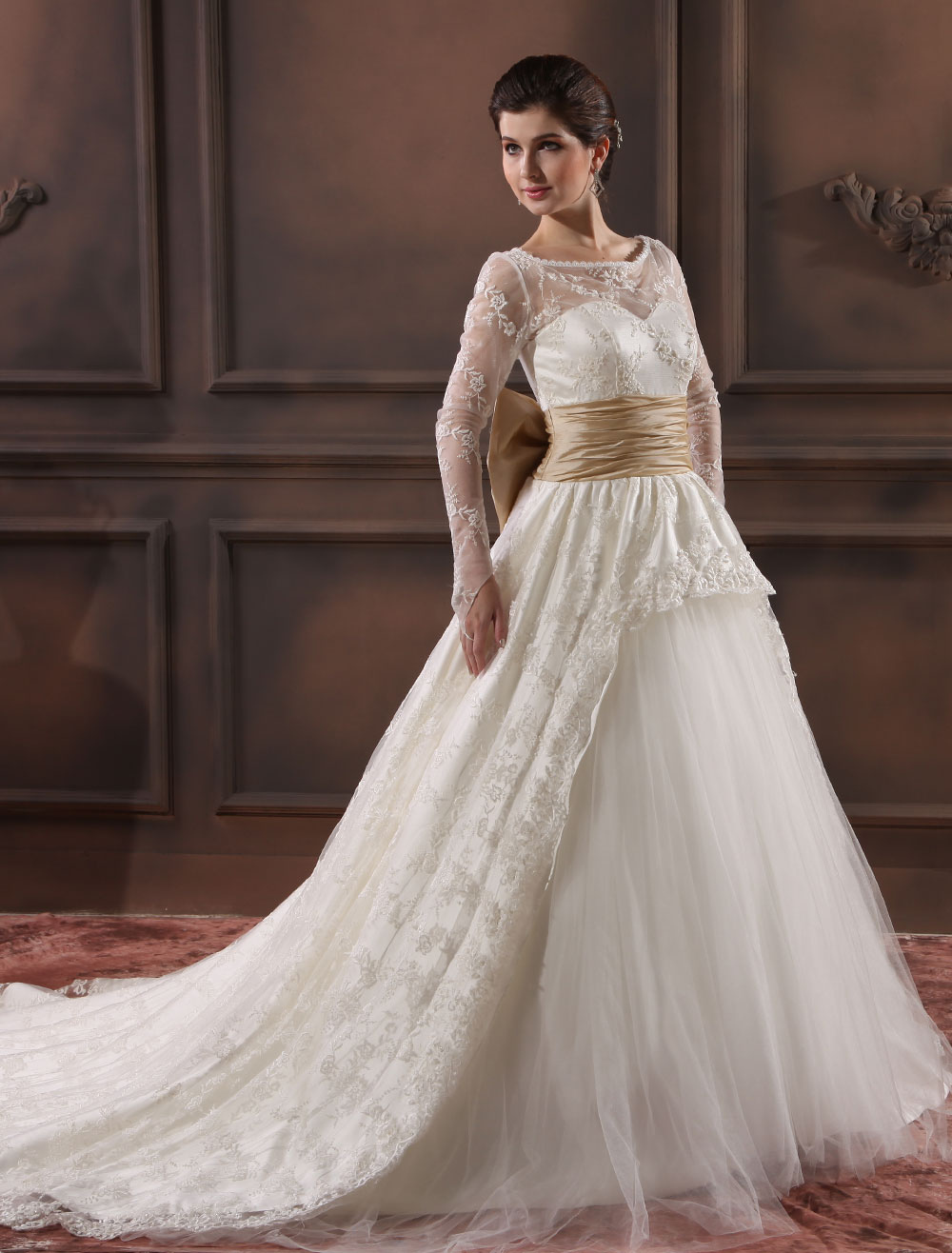 Glamorous Ivory Sash Jewel Neck Long Sleeves A-line Lace Wedding Dress Milanoo