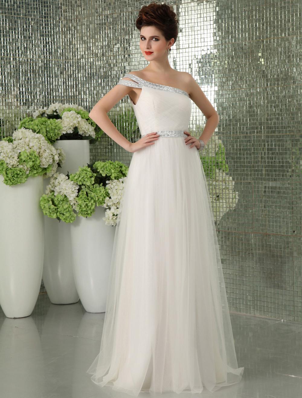 White Net Lace One-Shoulder Sexy Evening Dress Milanoo (Wedding Evening Dresses) photo