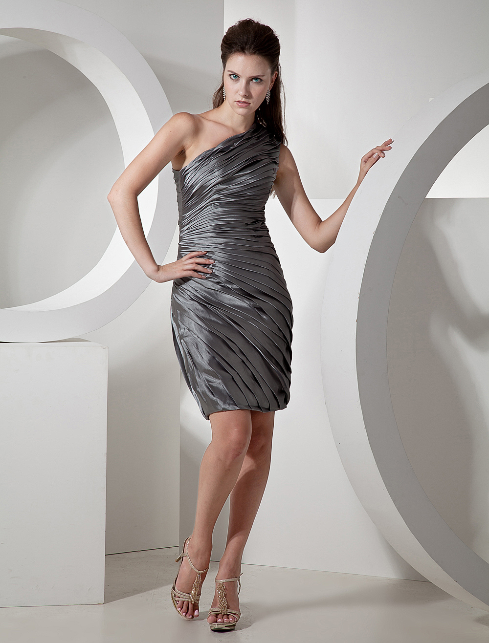 Silver One-shoulder Knee Length Womens Bridesmaid Dress