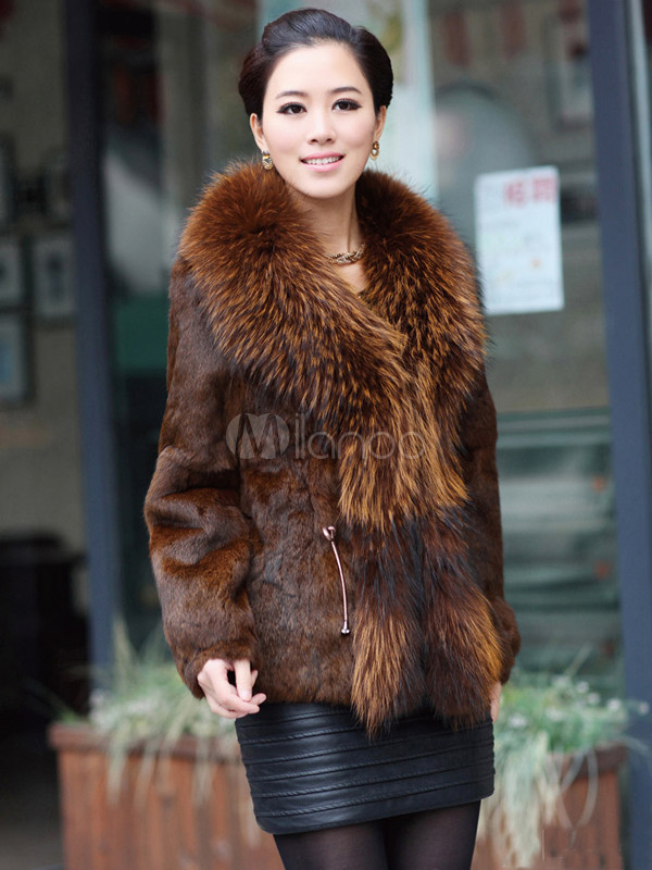 Modern Tan Racoon Collar Cony Hair V-neck Women's Fur Coat