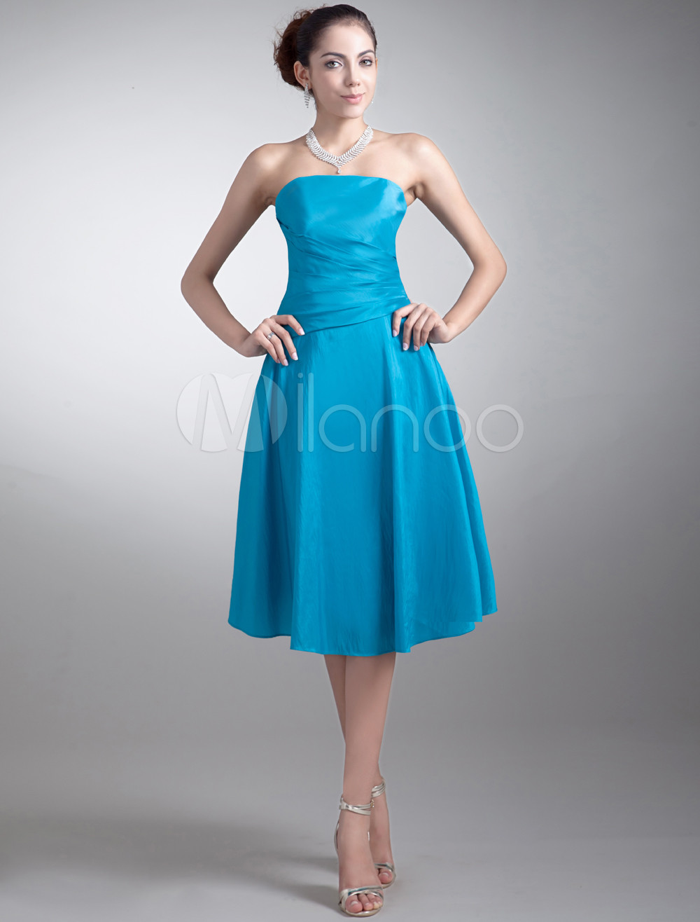 Line Blue Taffeta Strapless Tea Length Bridesmaid Dress For Wedding